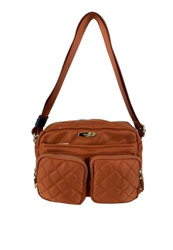 Mel&Co orange Front Quilted Double Pocket Sling Bag 10307AC8F105C2GS_1