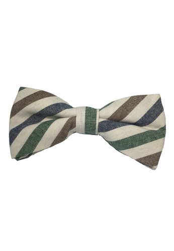 Splice Cufflinks white Passe Series Brown, Green and White Stripes Cotton Pre-Tied Bow Tie SP744AC51TYYSG_1