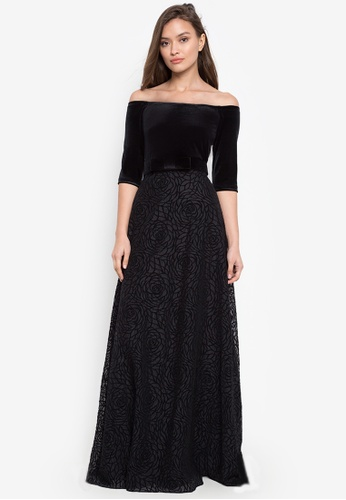 BARBA black 3/4 Sleeve Off Shoulder Dress with Rosette Skirt 16EE7AA0F04A9DGS_1