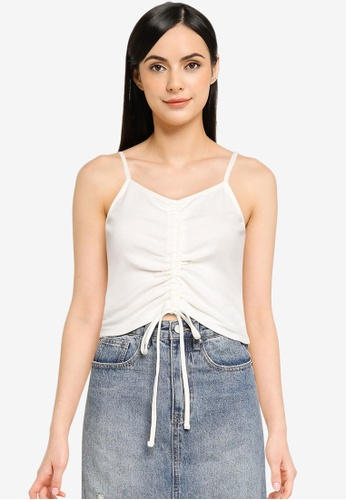 UniqTee white Center Ruched Cami Top with Spaghetti Strap 47A95AAF0D99A3GS_1