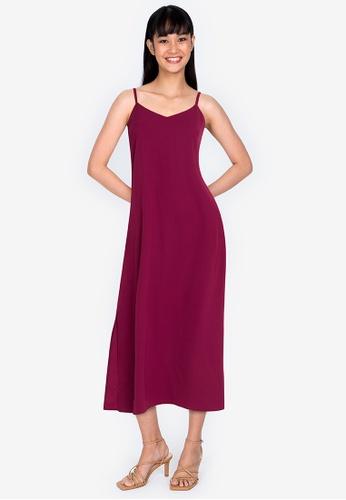 ZALORA BASICS red Cami Midi Dress DF723AA755C81BGS_1