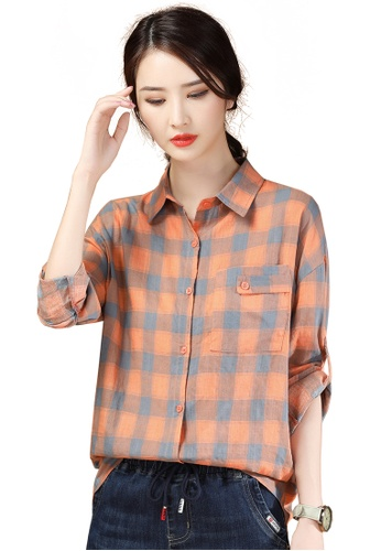 A-IN GIRLS grey and orange Fashion Checkered Long Sleeve Shirt 80C06AAC92D8C9GS_1