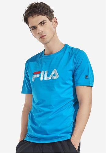 FILA blue Checked FILA Logo T-shirt C6E25AA54C096DGS_1
