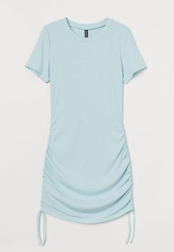 H&M blue Ribbed Jersey Dress 76276AA8C2F8EDGS_1