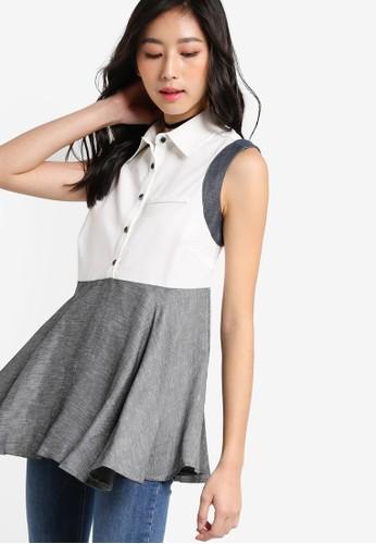 撞色拼接傘擺無袖上衣,zalora taiwan 時尚購物網 服飾, 上衣