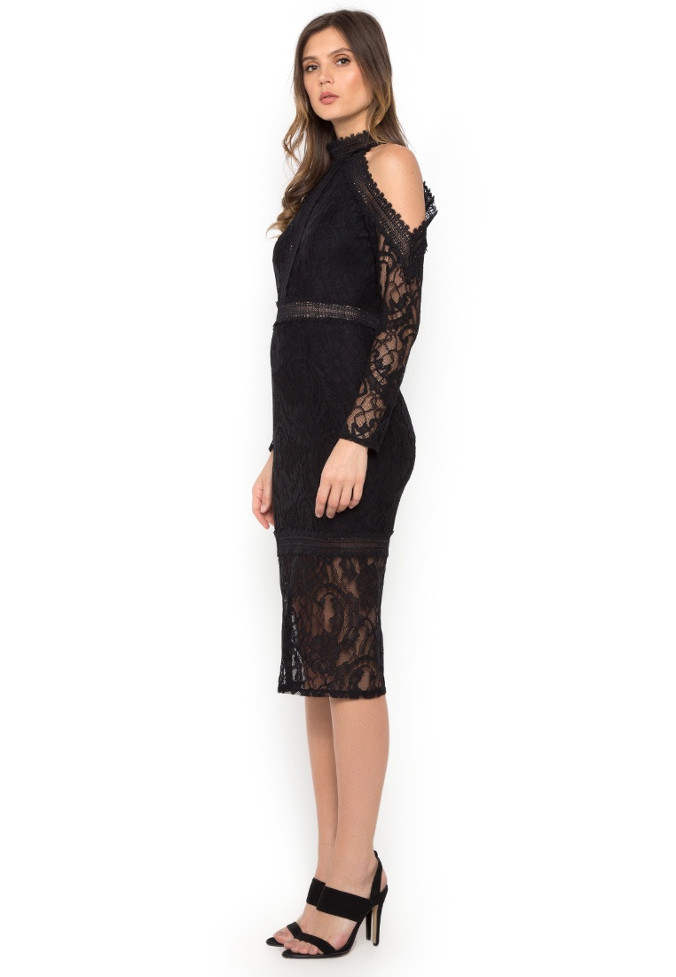 Dress Midi Lace Floral NOBASIC black SOfwAAqE