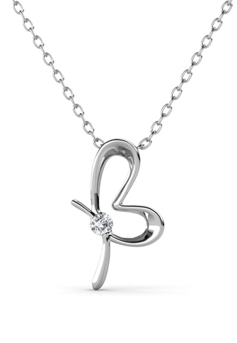 Her Jewellery silver Posie Butterfly Pendant (White Gold) - Made with premium grade crystals from Austria BFAB6AC46F526FGS_1