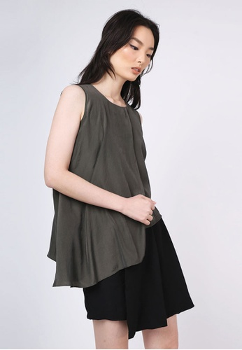 SALIENT LABEL green Raelyn Front Draped Panel Top - Dark Olivine 2BE4EAAD4034E2GS_1