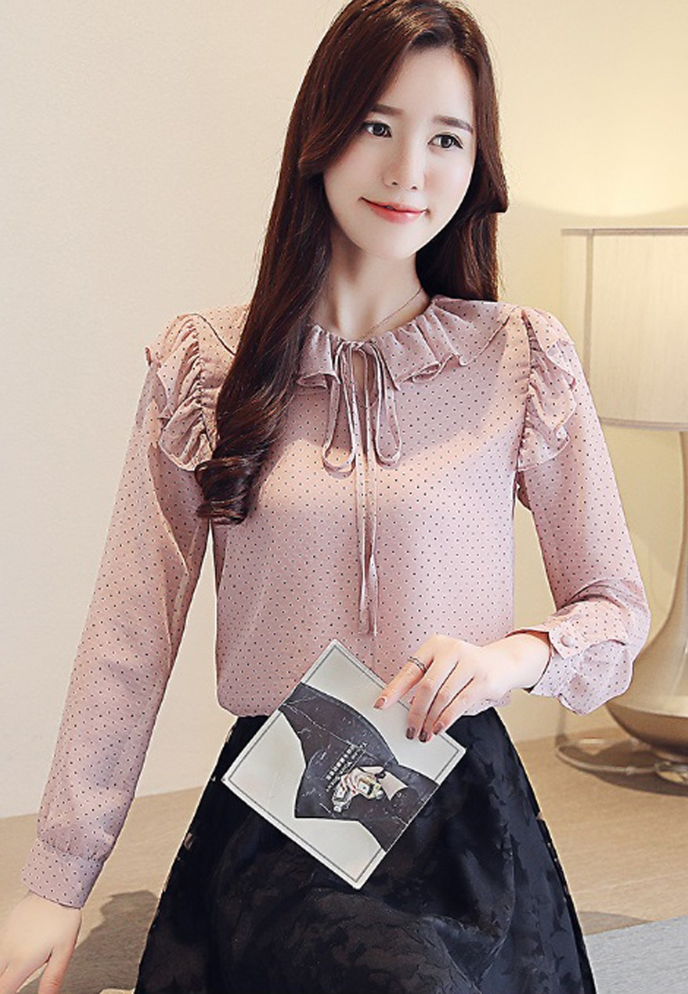 Ruffle Dot Sleeves Halo Blouses Long Pink R7qBxgg8 ...