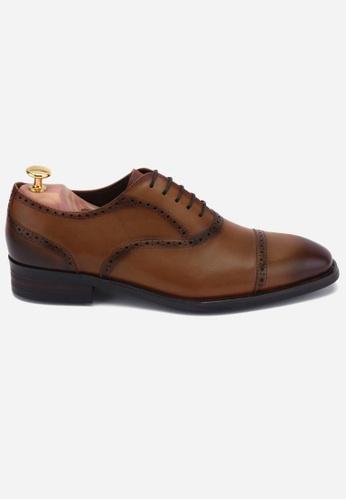 Earnest & Collective brown Preston II Antique Chestnut Semi-brogue Oxford 9E444SHB0D1865GS_1