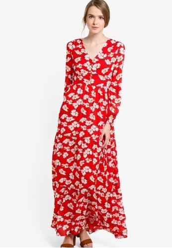 花卉印花長esprit高雄門市袖連身長裙, 服飾, 洋裝