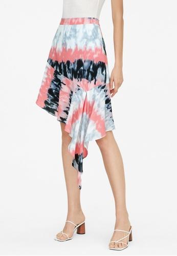 Pomelo pink Draped Tie Dye Skirt - Pink 734B7AABC6CF49GS_1
