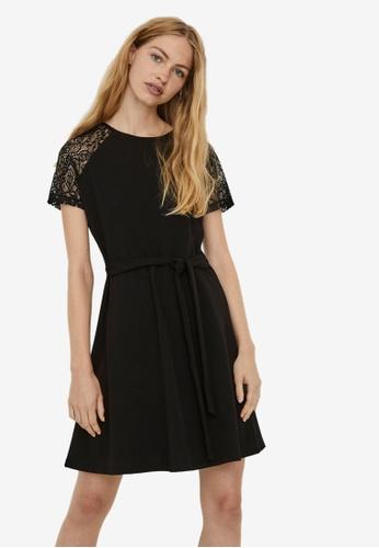 Vero Moda black Jasmine Lace Tie Short Dress 82DA4AA2AE9819GS_1