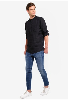 38058fa14b Only   Sons Luke Linen Half Placket Mandarin Shirt S  69.00. Sizes S M L XL