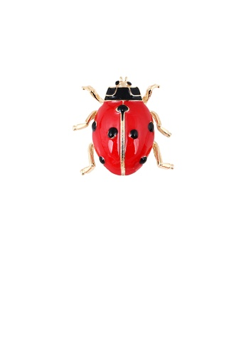 Glamorousky silver Simple and Cute Plated Gold Beetle Brooch 4063EACF5DC118GS_1