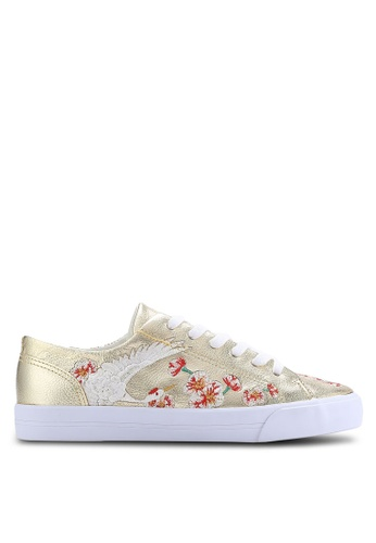 TOPSHOP gold Tulip Embroidered Trainers TO412SH67VUUMY_1