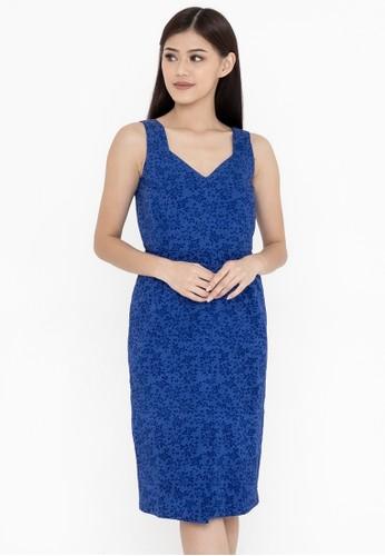 SAVI Batik blue Batik Bodycon Dress Blue 73D6FAABF8FA1CGS_1