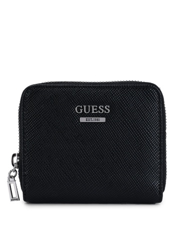 Guess black Noelle Small Zip Around Wallet 7368BAC4C8043AGS_1