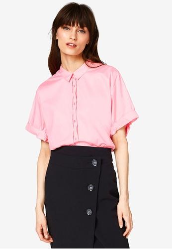 ESPRIT pink Woven Short Sleeve Blouse 46628AA85E4418GS_1