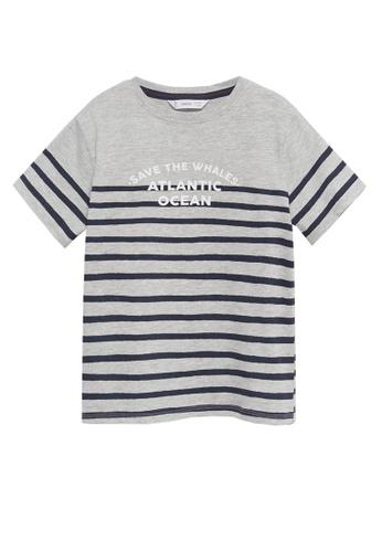 MANGO KIDS grey Message Striped T-Shirt 15ABBKAA1C8922GS_1