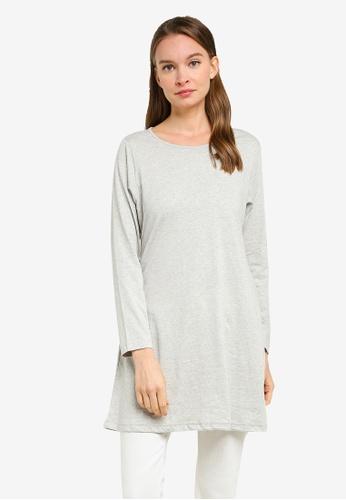 Aqeela Muslimah Wear grey Basic Flare Hem Top 9CFA4AA8E5EABEGS_1