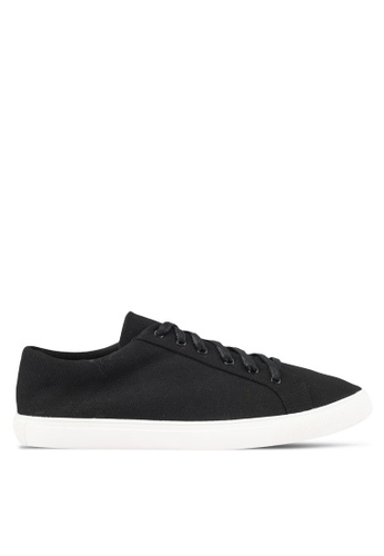 JAXON black Essential Cotton Twill Laced Up Sneakers CA24CSHBE43512GS_1