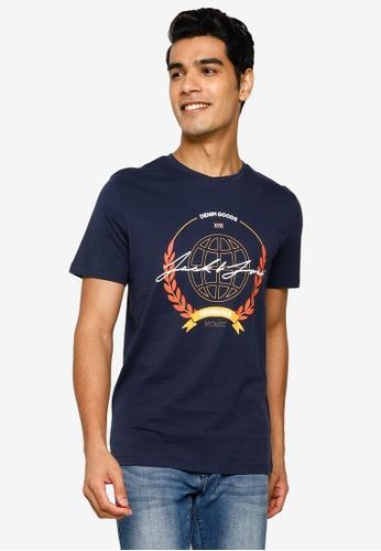 Jack & Jones navy Dorm Short Sleeve T-Shirt DD2CDAA5DAA87EGS_1