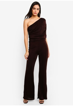 0a2abfb2b27 MISSGUIDED brown Slinky One Shoulder Drape Jumpsuit B1073AA61DC7BAGS 1