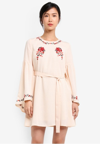 ZALORA beige Embroidered Swing Dress With Fit & Flare Sleeves BC888AA564A3ABGS_1