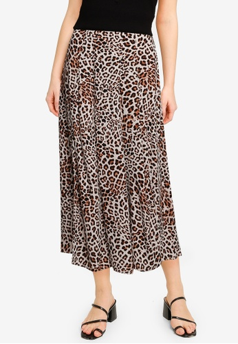 Forever New brown Sophie Double Split Midi Skirt 41A8AAA43F1E36GS_1