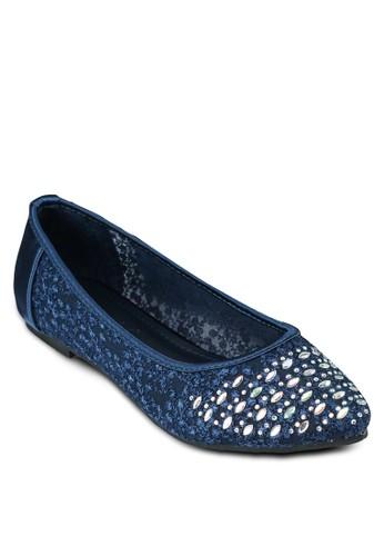 金色鉚釘尖頭平底鞋, 女鞋,esprit 高雄 鞋