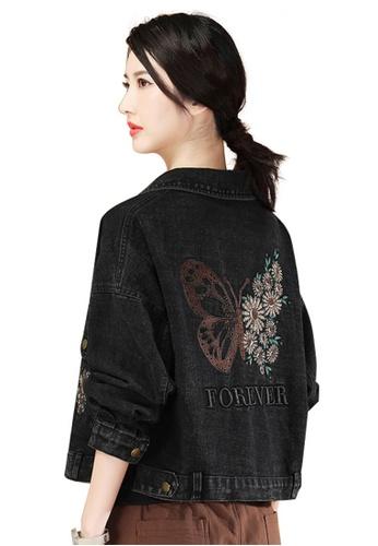 A-IN GIRLS black Fashion Embroidered Denim Jacket 468ECAA69FD8C0GS_1