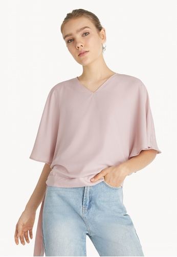 Pomelo pink Butterfly Sleeve Top - Pink 09BCDAA7C24E57GS_1