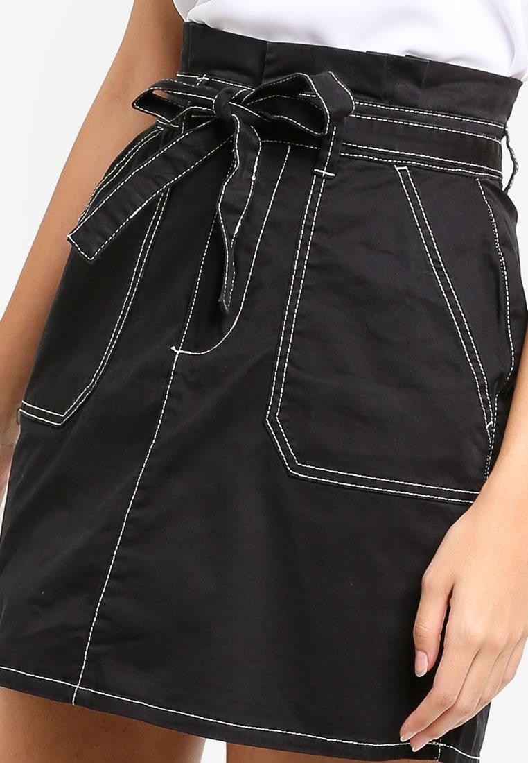 Skirt On Cotton Black Mini Utility Woven Twill HR4x74Sn