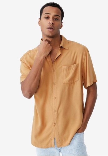 Cotton On brown Cuban Short Sleeve Shirt 7C1EEAAE2C3078GS_1