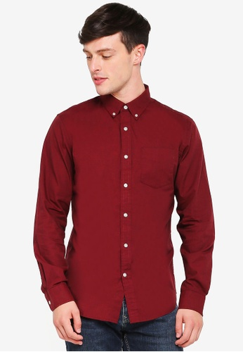 Banana Republic red Grant Heather Oxford Shirt 7B4C0AA2DAB249GS_1
