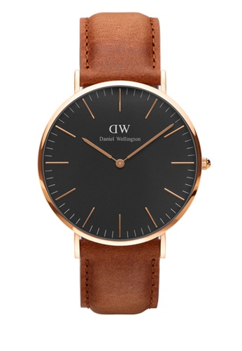 Daniel Wellington gold and brown Classic Black Durham Watch 40mm DA376AC89NBEMY_1