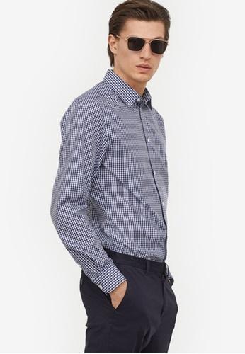 H&M blue and multi Easy-Iron Shirt Slim Fit A930DAA404B066GS_1
