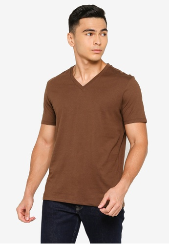 Electro Denim Lab brown V-neck Tee 440CEAA85221D5GS_1