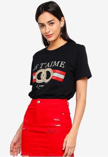MISSGUIDED black Je T'aime Oversized T-Shirt 1DF17AA6DCFF3DGS_1