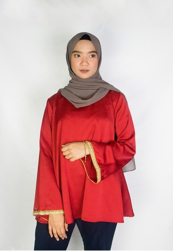 Zaryluq red Lush Babydoll Top in Terracotta Red 1D52AAA7CA0C4EGS_1