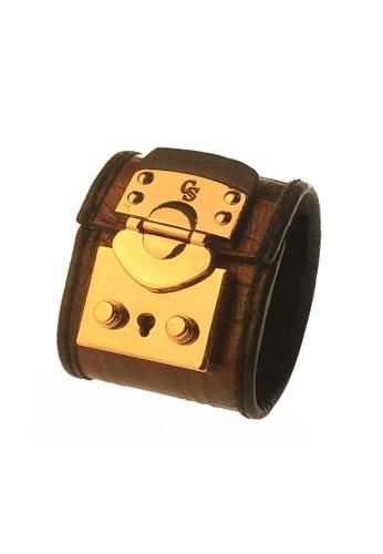 CSHEON gold and brown Haydes Croc Skin Dark Brown Bracelet Cuff A8E95AC9556578GS_1