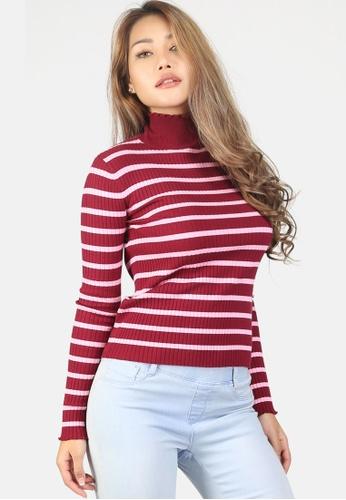 London Rag red Turtleneck Striped Sweater 194F5AAA7EF189GS_1