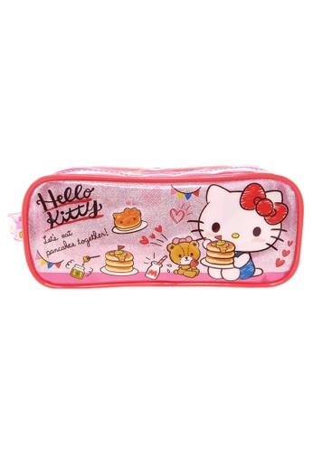 Hello Kitty pink Hello Kitty Pancake Transparent Square Pencil Bag Set 94C10KC6232F30GS_1