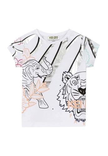 KENZO KIDS black and white and pink and multi and silver KENZO BABY GIRLS T-SHIRT 4121AKACB7084BGS_1
