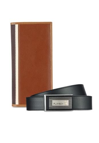 Playboy black and brown Playboy Wallet & Belt Gift Set PL371AC0RJX8MY_1