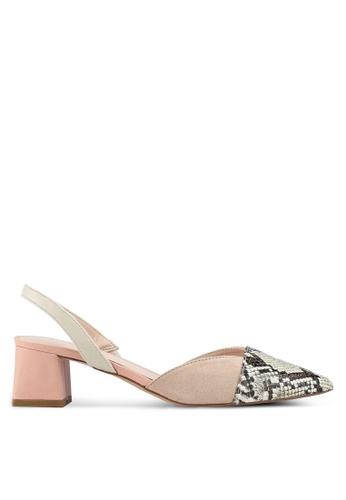 Mango pink Contrast Slingback Heels F5AC4SHCB37275GS_1