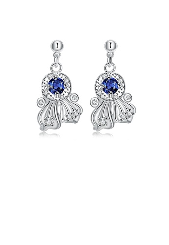 Glamorousky blue Elegant and Noble Geometric Stud Earrings with Blue Cubic Zircon 36AF9AC3AE0375GS_1