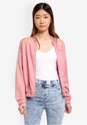 Something Borrowed pink Lace Bomber Jacket FF3FAAAF3D49D1GS_1