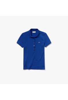 26b6083bea Lacoste blue Women's Lacoste Slim Fit Stretch Mini Cotton Piqué Polo Shirt  - PF7845-10